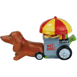 Dachshund Hotdog Stand Cart Salt and Pepper Shakers