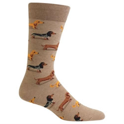 Mens Hemp Colored Dachshund Socks