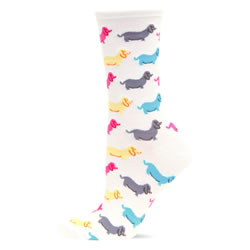 White Dachshund Socks