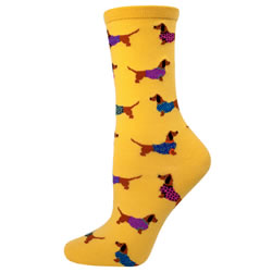 Yellow  Socks With Dachshunds In Sweaters