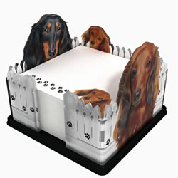 Longhair Dachshund Note Holder