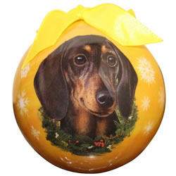 Black/tan Dachshund Ball Ornament