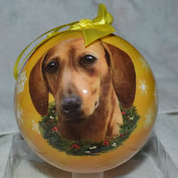 Red Dachshund Ball Ornament