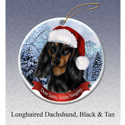 Black/tan Longhair Dachshund Christmas Ornament