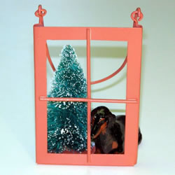 Black/tan Shorthair Dachshund In The Window Christmas Ornament