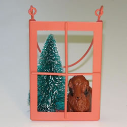 Red Longhair Dachshund In The Window Christmas Ornament