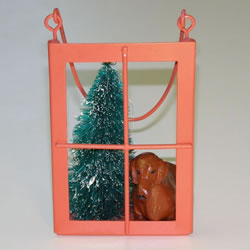 Red Shorthair Dachshund In The Window Christmas Ornament