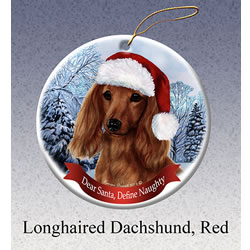 Red Longhair Dachshund Christmas Ornament