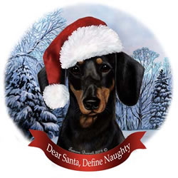 Black/tan Dachshund In Santa Hat Christmas Ornament