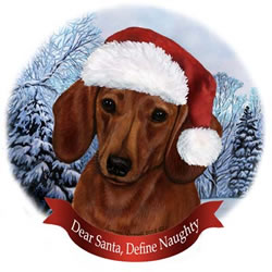 Red Dachshund In Santa Hat Christmas Ornament