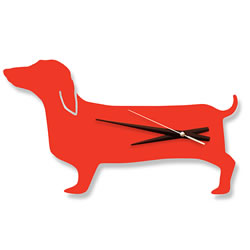 Orange Dachshund Wall Clock