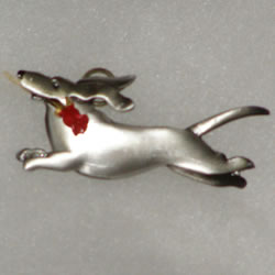 Pewter Color Dachshund With Rose Pin