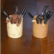 Red and Black/tan Dachshund Pencil Cups